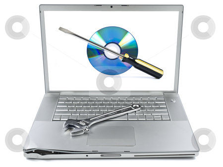 Fixing problems stock photo, Damaged laptop with a spanner over it and a technical support icon on the screen. Isolated on white. by Ignacio Gonzalez Prado