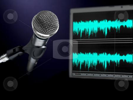 Microphone on recording studio. stock photo, A dynamic microphone and a waveform monitor. by Ignacio Gonzalez Prado