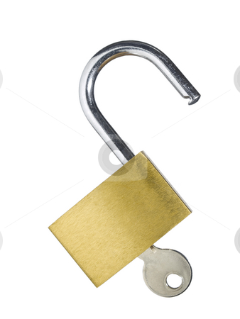 Lock and key stock photo, An open lock with a key isolated on white background. by Ignacio Gonzalez Prado