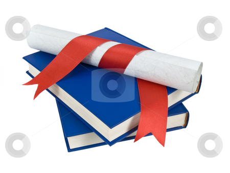 Dilploma and books stock photo, A diploma with red ribbon over blue books. Isolated on white. by Ignacio Gonzalez Prado