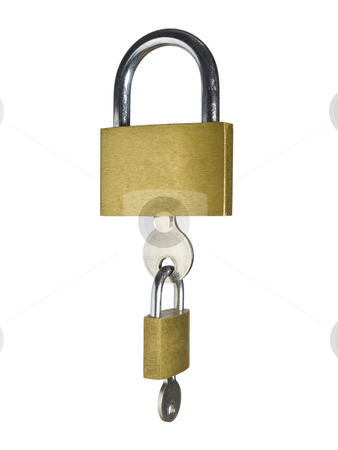 Security chain stock photo, Two locks with their keys as a chain. Isolated on white background. by Ignacio Gonzalez Prado