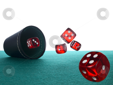 Dices and shaker stock photo, Five red dices after being thrown from the shaker. by Ignacio Gonzalez Prado