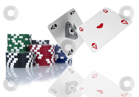 Nice hand stock photo, Two aces are about to land beside a stack of gambling chips. Isolated on white. by Ignacio Gonzalez Prado