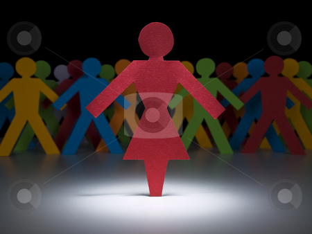 Red hot woman stock photo, A female paper figure stands under the spotlight in front of multicolor crew. by Ignacio Gonzalez Prado