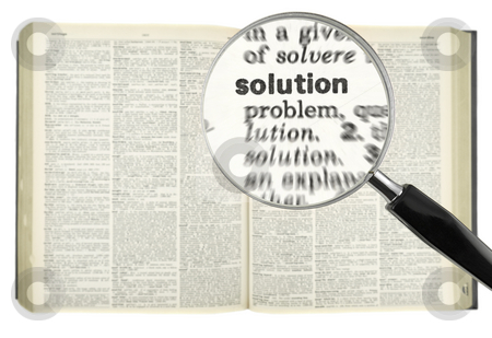 Searching for SOLUTION stock photo, A magnifying glass on the word SOLUTION on a dictionary. by Ignacio Gonzalez Prado