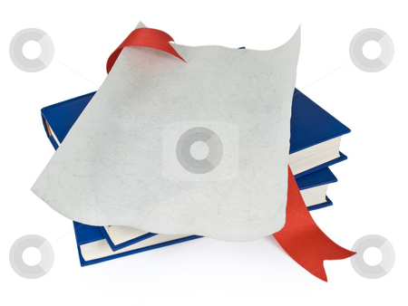 Dilploma and books stock photo, An open diploma with red ribbon over blue books. Isolated on white. by Ignacio Gonzalez Prado