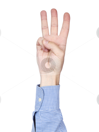 Number 3 stock photo, A man's hand doing number 3 gesture, isolated on white background. by Ignacio Gonzalez Prado