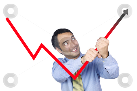 It will work stock photo, A young business man bending the chart with his own hands. Isolated on white. by Ignacio Gonzalez Prado