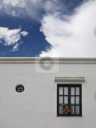 White house stock photo, Facade of a white simple mediterranean house. by Ignacio Gonzalez Prado