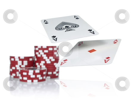 Better hand stock photo, Two aces flying over a game table beside three piles of red chips. Isolated on white. by Ignacio Gonzalez Prado
