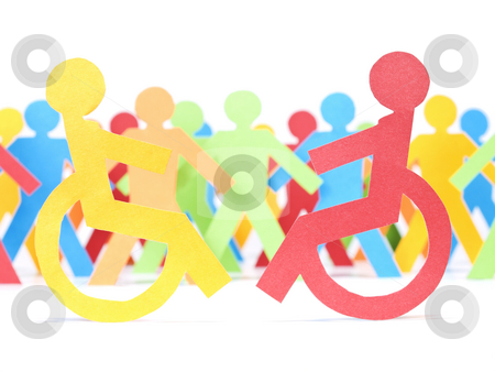 Handicap paper people stock photo, Two paper men on wheelchair. Multicolor paper crew on the background. by Ignacio Gonzalez Prado