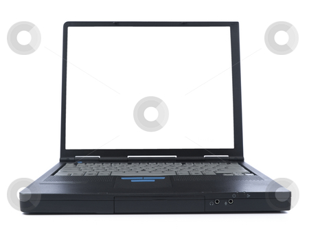 Black laptop stock photo, A black laptop with a white screen isolated over white background. by Ignacio Gonzalez Prado