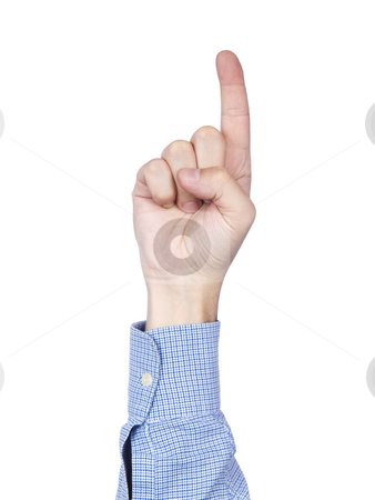 Number 1 stock photo, A man's hand doing number 1 gesture, isolated on white background. by Ignacio Gonzalez Prado