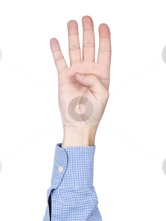 Number 4 stock photo, A man's hand doing number 4 gesture, isolated on white background. by Ignacio Gonzalez Prado