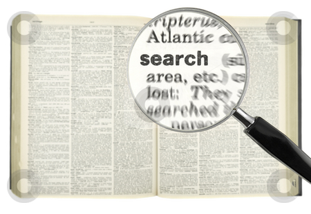 Find search stock photo, A magnifying glass on the word SEARCH on a dictionary. by Ignacio Gonzalez Prado
