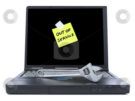To be fixed stock photo, Laptop with an Out of Service sticky note and a spanner over the keyboard. Isolated on white. by Ignacio Gonzalez Prado