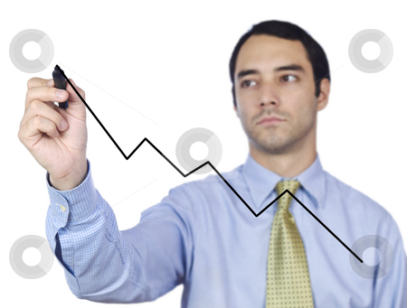 Optimistic projection stock photo, Young business man drawing a chart line on the screen. by Ignacio Gonzalez Prado