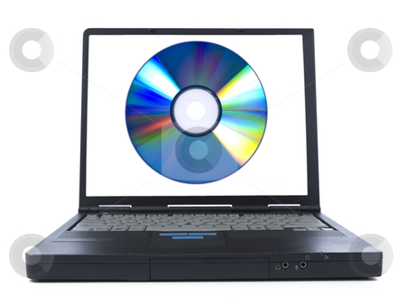 Install software stock photo, Laptop showing a digital disc on its screen. Isolated on white. by Ignacio Gonzalez Prado