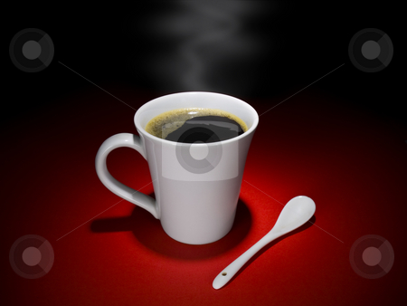 Coffee moment stock photo, A cup of hot and tasty coffee and a spoon aside, together in a relaxing mood. by Ignacio Gonzalez Prado