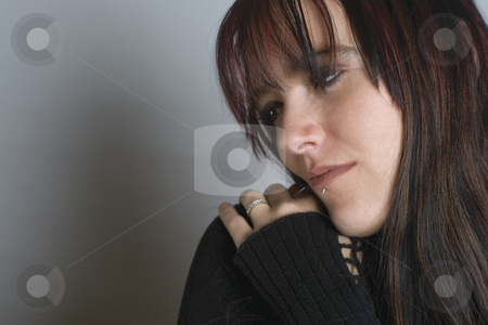 Fashion model - comforting stock photo, Twenty something fashion model comforting herself by Yann Poirier