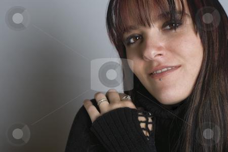 Fashion model - head shot stock photo, Close up head shot of a twenty something fashion model by Yann Poirier