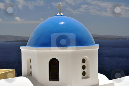 Church in Santorini  stock photo, Greek orthodox church in the island of Santorini by Fernando Barozza