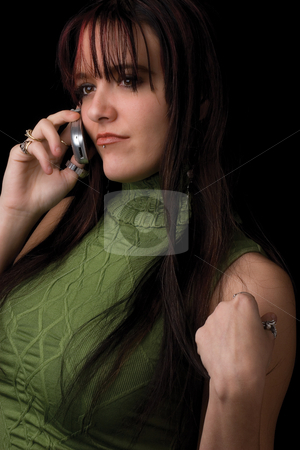 Fashion model - Talking on cell stock photo, Twenty something fashion model talking on cell phone by Yann Poirier
