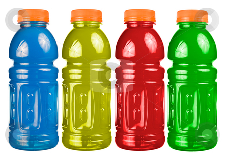 Sports Drink Set Isolated stock photo, A close up on a set of isolated sports drink bottles. by Travis Manley