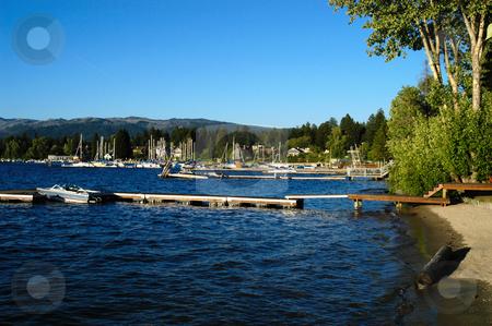 Payette Lake stock photo, USA, Idaho, McCall, Payette Lake, Private Docks and marina by David Ryan
