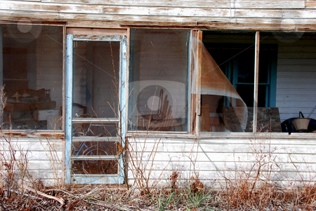 Abandoned Home stock photo, USA, Idaho, Owyhee County, Settlers' Home on the Snake River, Front Door and Porch by David Ryan