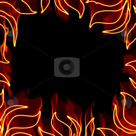 Fiery Frame stock photo, A fiery square border with flaming pieces of foliage. by Todd Arena