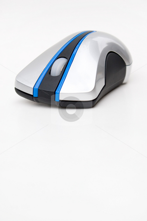 Wireless Computer Mouse stock photo, A modern wireless mouse isolated over white.  Plenty of copyspace below for your text or design. by Todd Arena