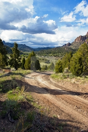 Road to West Hunt Creek stock photo, Gravel road entering a beautiful green valley. by Andrew Orlemann