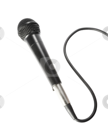 Microphone with cord stock photo, Stock image of black microphone with cord isolated on white by iodrakon