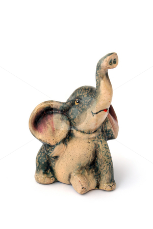 Cute elephant statue for believe you get rich stock photo, Small statue of cute elephant to happines by Stanislav Vasko