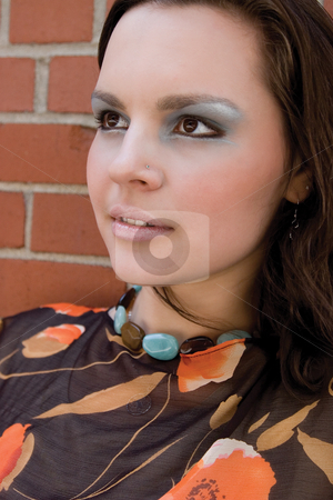 Fashion model - head shot stock photo, Head shot of a twenty something fashion with funky makeup by Yann Poirier