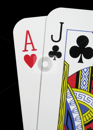 Close up of blackjack playing cards on a black background stock photo, Close up of blackjack playing cards on a black background by Stephen Rees