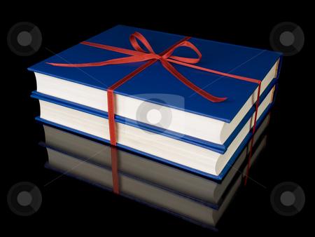 Two blue books stock photo, Two blue books with red silk ribbon, isolated on black background. by Ignacio Gonzalez Prado