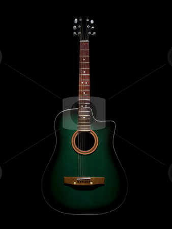 Acoustic guitar stock photo, A green acoustic guitar over black background. by Ignacio Gonzalez Prado