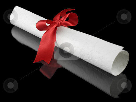 Diploma with red ribbon stock photo, Diploma with a red silk ribbon, isolated on black background. by Ignacio Gonzalez Prado