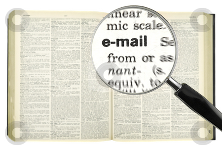 Dictionary search stock photo, A magnifying glass on the word email on a dictionary. by Ignacio Gonzalez Prado