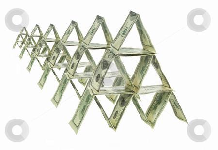 Six dollar pyramids stock photo, Six pyramids made out of one hundred dollar bills. by Ignacio Gonzalez Prado