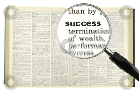 Dictionary search stock photo, A magnifying glass on the word SUCCESS on a dictionary. by Ignacio Gonzalez Prado