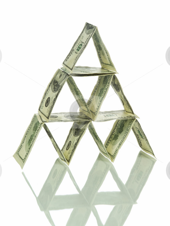 Dollar pyramid stock photo, A pyramid made out of one hundred dollar bills and its reflection. Isolated on white. by Ignacio Gonzalez Prado