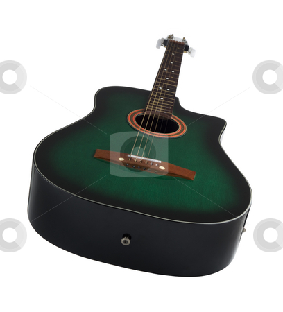 Acoustic guitar stock photo, A green acoustic guitar over white background. by Ignacio Gonzalez Prado