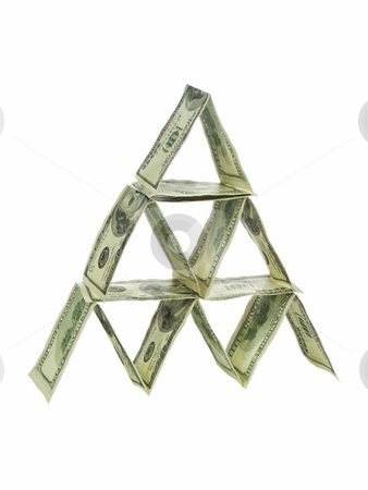 Dollar pyramid stock photo, A pyramid made out of one hundred dollar bills isolated on white. by Ignacio Gonzalez Prado