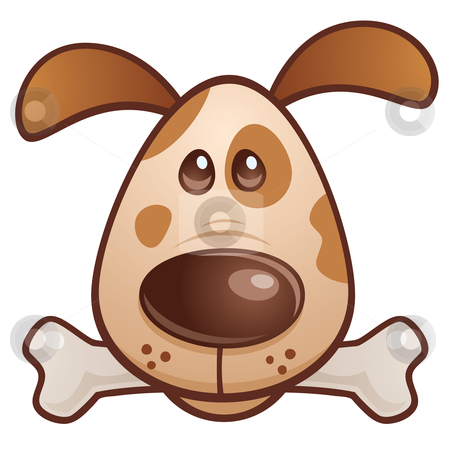 Brown Puppy with Bone stock vector clipart, Vector cartoon illustration of a cute puppy dog with a bone in his mouth. by John Schwegel