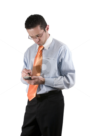Businessman with PDA stock photo, Concerned businessman on PDA by Mehmet Dilsiz