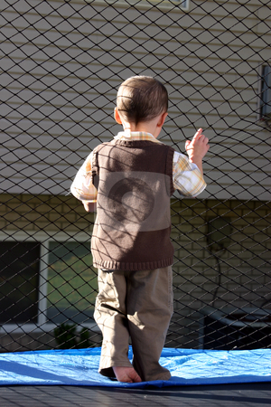 Little Boy Looking Out the Trampoline stock photo, Little Boy Looking Out through the Net by Mehmet Dilsiz