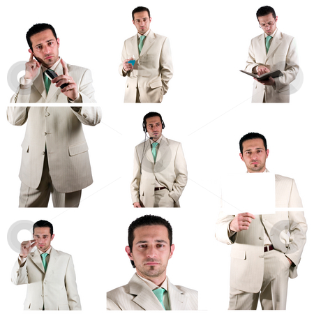 Businessman - Collage stock photo, Collage - Businessman in his Suit in various Poses by Mehmet Dilsiz